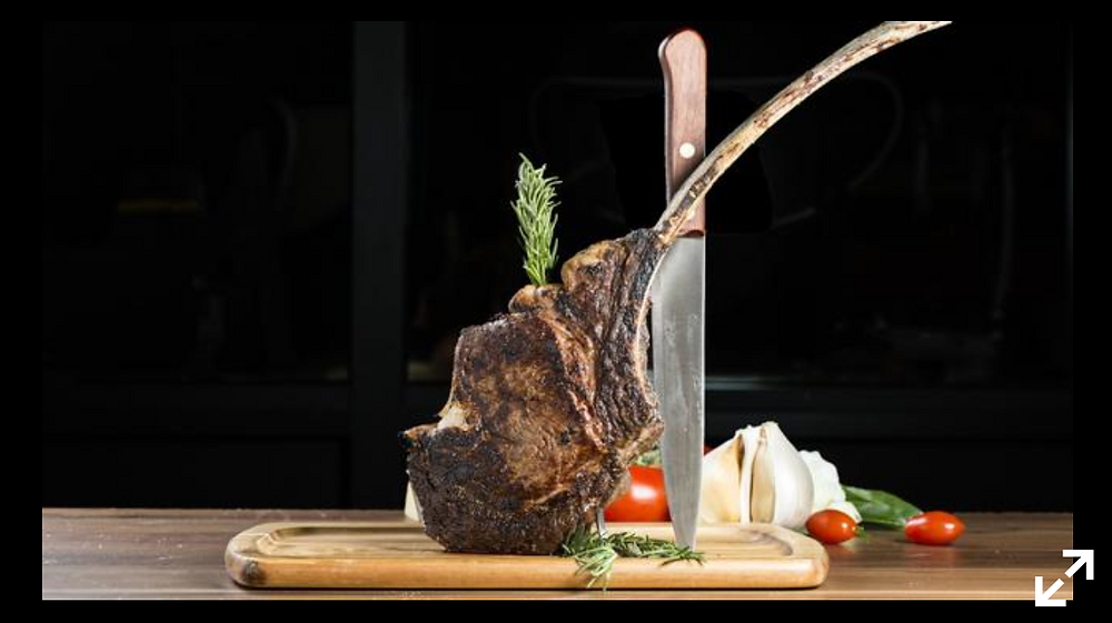 "Stefani Prime's tomahawk steak. as one of the menu's signature meat offerings. ""The way it's presented tableside is one of those where you're taking your phone out and Instagramming it right away,"" said Anthony"