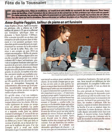 Article sur la Gravure sur pierre Bulles de Granite Le Mémorial de l'Isère Octobre 2015
