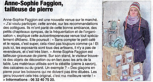 Article sur la Gravure sur pierre Bulles de Granite Dauphiné libéré décembre 2015