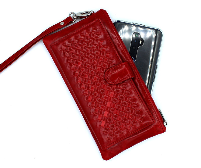 Leather wallet hand carry weave leather