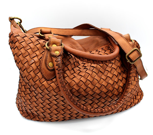 Genuine Leather bag, woven Leather shoulder bag and crossbody bag Made in Italy