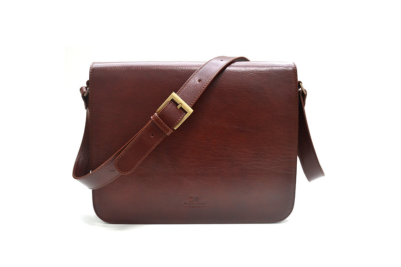 CAVALIERI LEATHER BRIEFCASE BROWN MADE IN ITALY