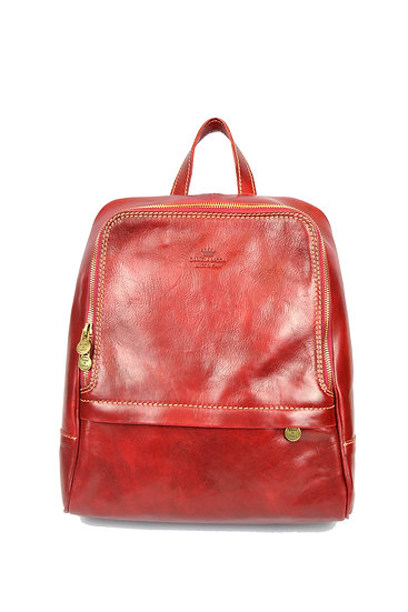 Leather backpack made in Italy Red