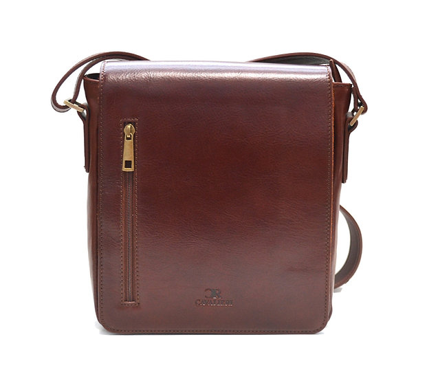 LEATHER BAG MADE IN ITALY CAVALIERI BROWN