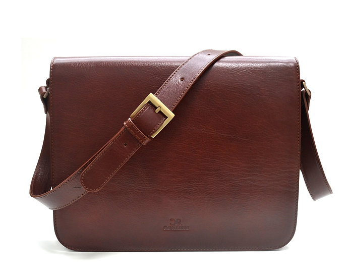 Leather Briefcase Cavalieri Made in Italy Brown