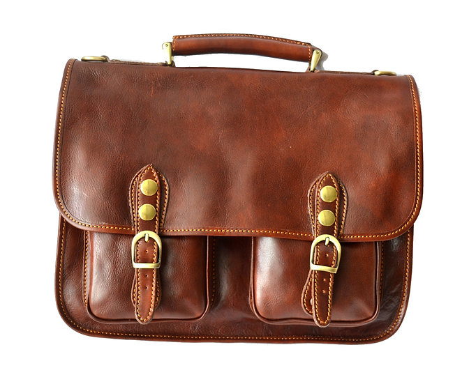 Man Leather Briefcase Made in Italy