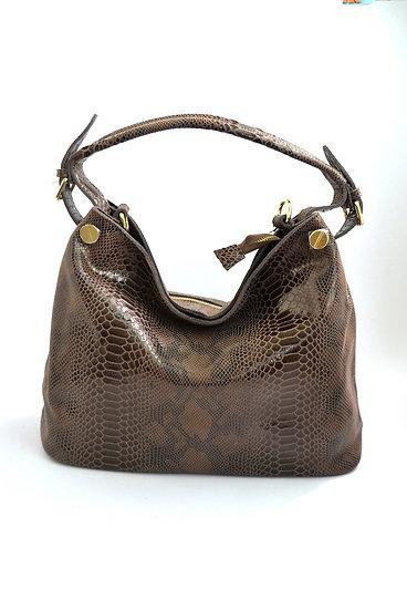 Leather Handbag snake stamp Kaki Brown