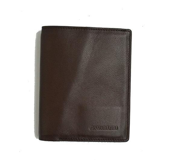Man Leather Wallet Cavalieri Dark Brown