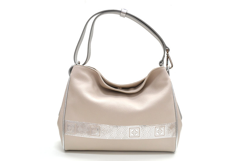 LEATHER BAG MADE IN ITALY NEW SILVER LINE BEIGE CREAM