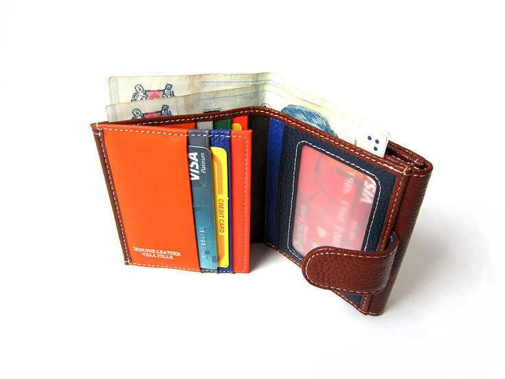 Small leather wallet coin pocket Florence wallet