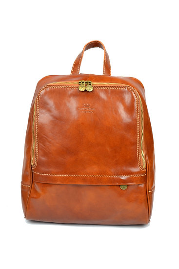Leather backpack made in Italy Cognac