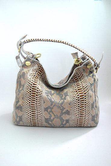 Leather Handbag snake stamp Beige