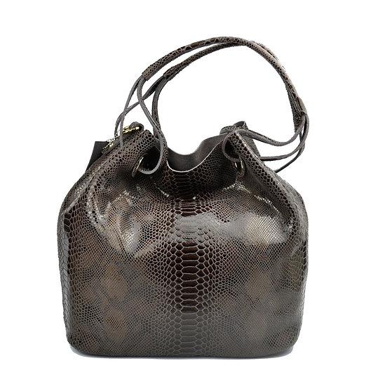 Leather Shoulder bag python design Big Bag