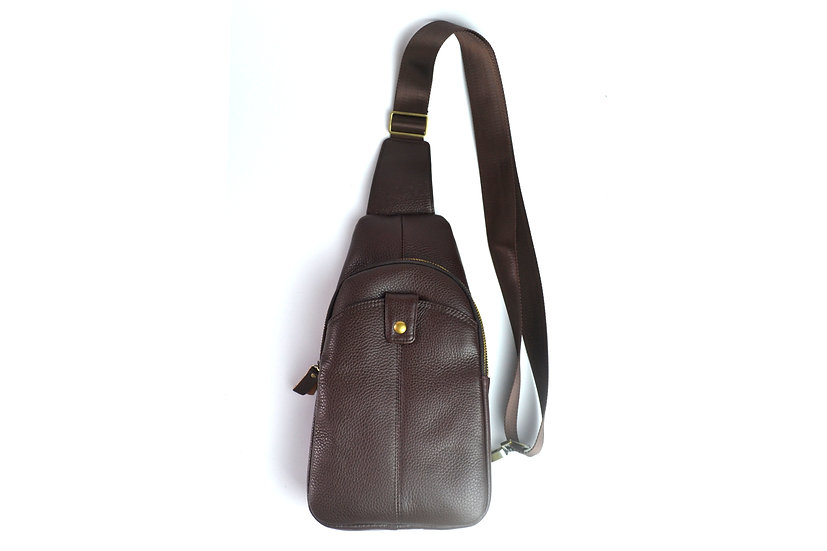 Leather shoulder bag, cross body bag travel bag Brown