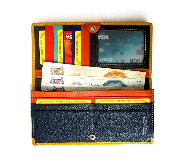 Long thin leather wallet