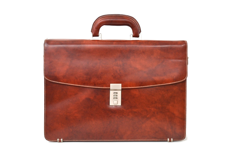 Beautiful high quality Leather briefcase numerical padlock closure