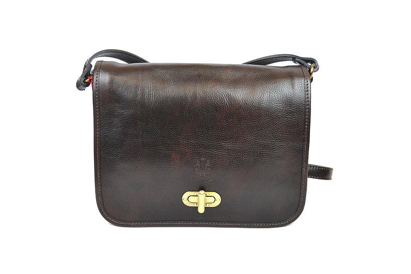 Genuine Leather bag long strap Dark Brown
