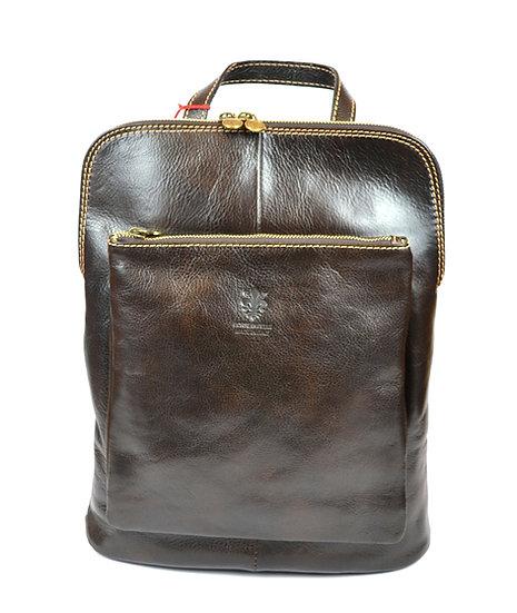 Genuine Leather Backpack Dark Brown