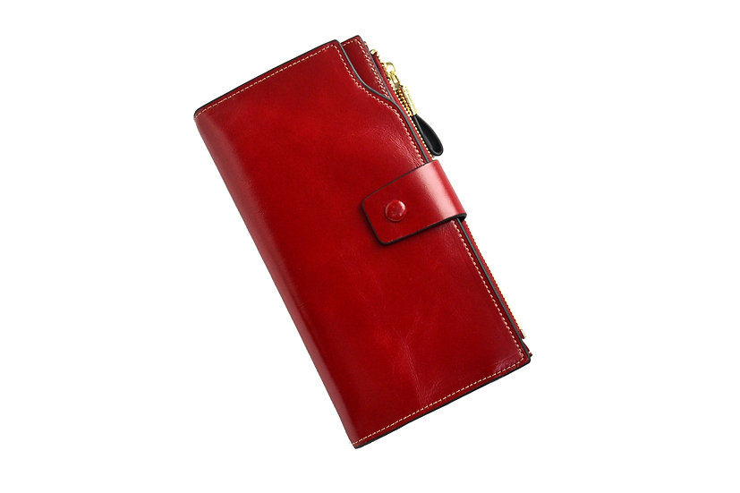 Women Leather Wallet Red