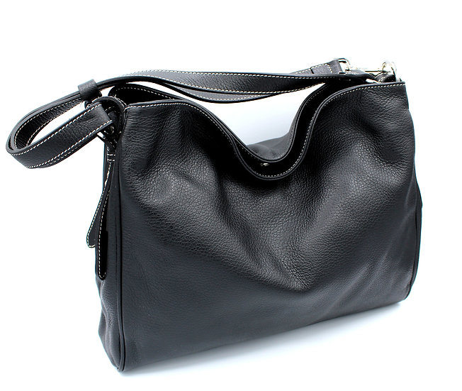 Leather Handbag two zip compartments