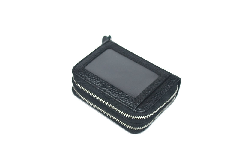 Accordion card holder coin leather wallet, black
