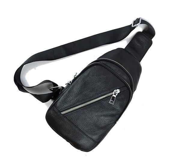 Unisex Leather cross body bag, Black
