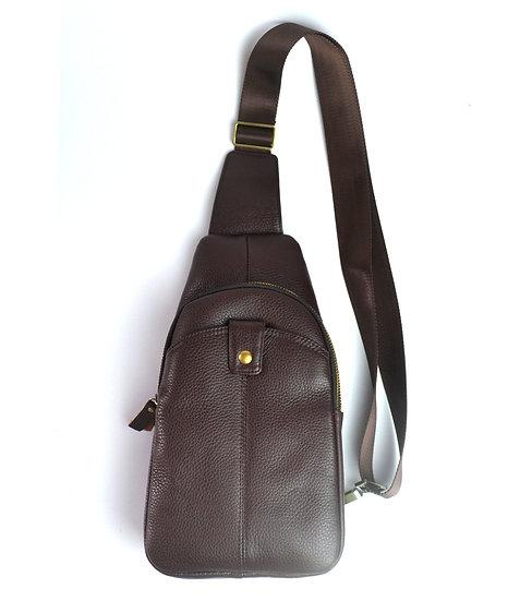 Leather shoulder bag, cross body bag travel bag Brown