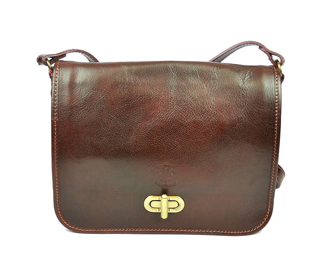 Genuine Leather bag long strap Brown