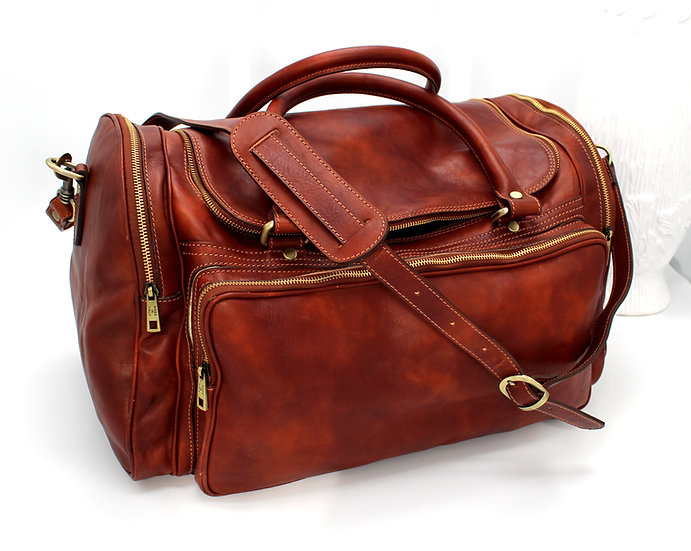Leather Duffle Bag Travel Bag Florence