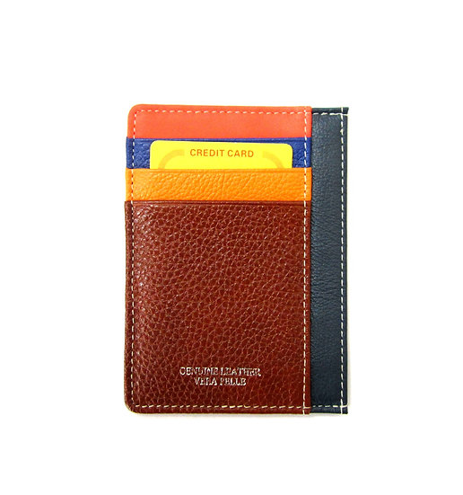 Leather Cardholder thin wallet Vera Pelle multicolored