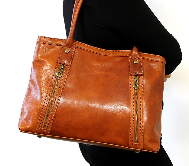 Leather Handbag Women Shoulder  Craftsman Cowhide Cognac bag