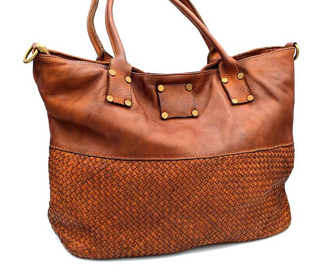Leather handbag Woven women shoulder bag Handmade Italy Piazza Duomo