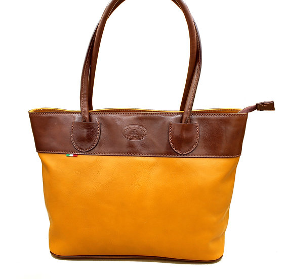 Leather Women Handbag Made in Italy Cowhide Piazza Duomo Yellow