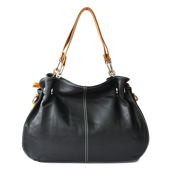 leather Handbag black with brown