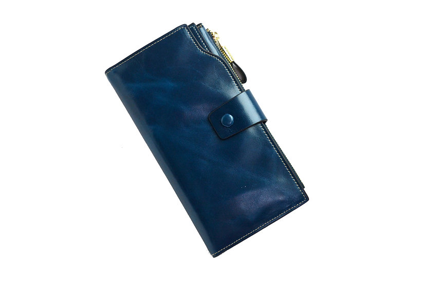 Women Leather Wallet Blue