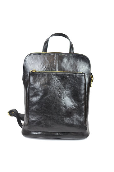 Genuine Leather Backpack Black