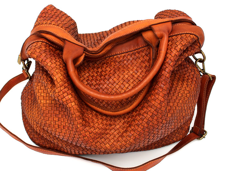 Leather Bag in Woven Soft Leather Handcrafted
