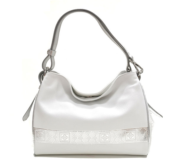 LEATHER BAG MADE IN ITALY NEW SILVER LINE WHITE