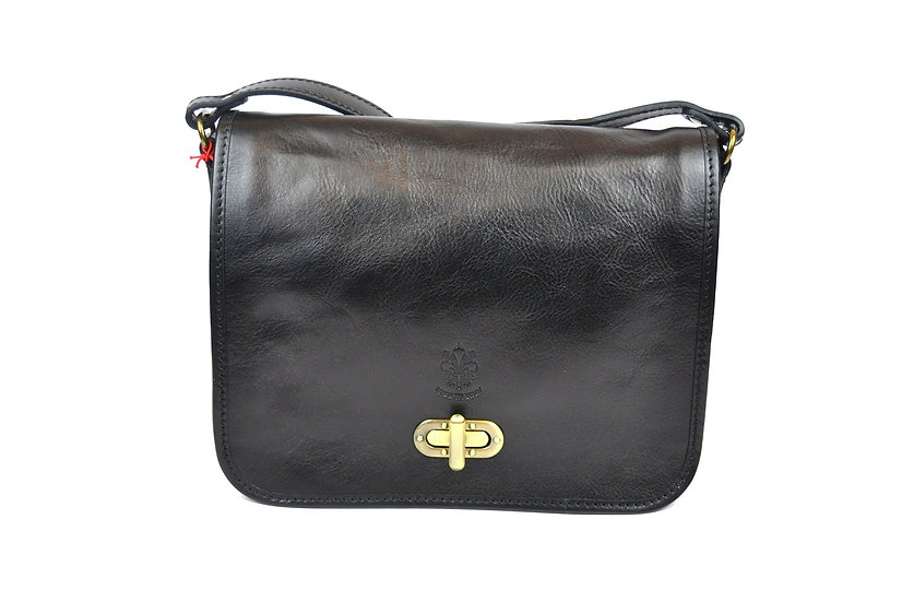 Genuine Leather bag long strap Black