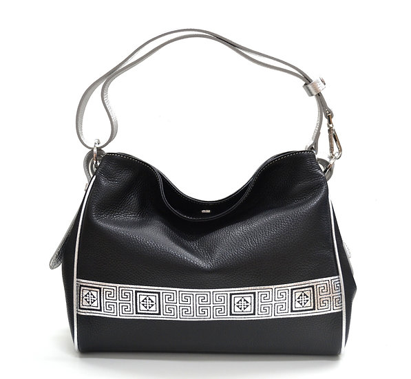 LEATHER BAG MADE IN ITALY NEW SILVER LINE BLACK
