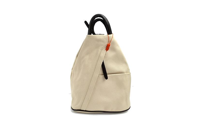 Leather Backpack Daniela Moda B58 Panna