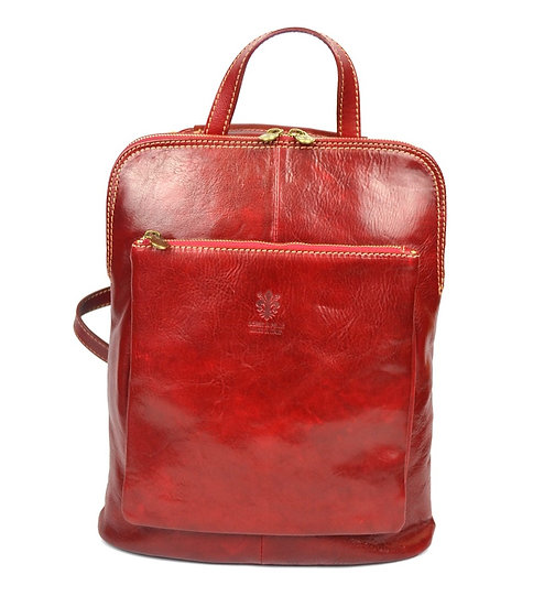 Genuine Leather Backpack Red