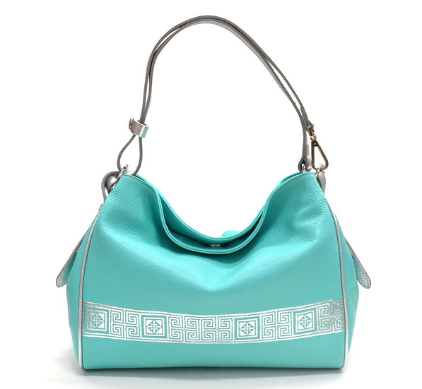 LEATHER BAG MADE IN ITALY NEW SILVER LINE TURQUOISE