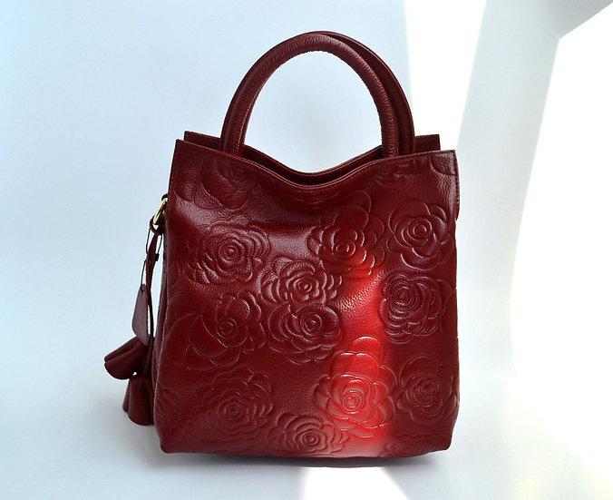 Genuine Leather Handbag Hot Rose Print Red