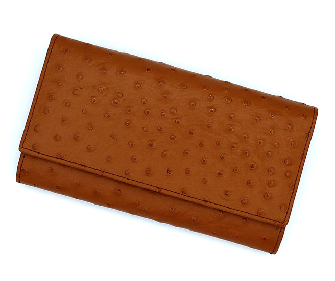 Leather long wallet Vera Pelle Ostrich