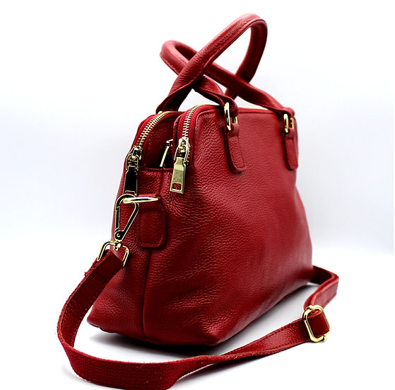 three zip compartments Leather handbag soft leather