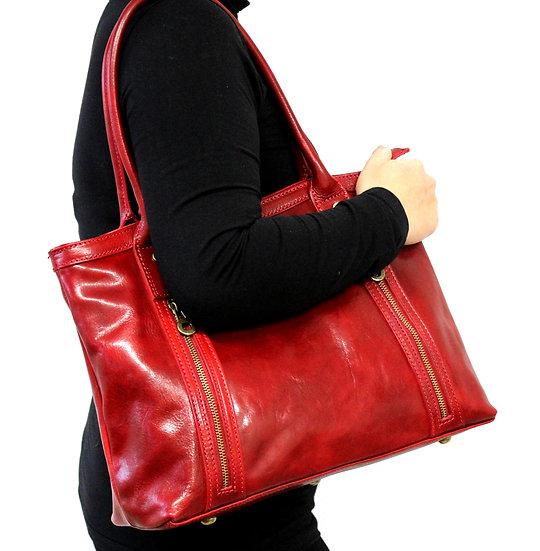 Leather Handbag Women Shoulder bag Craftsman Cowhide Red bag
