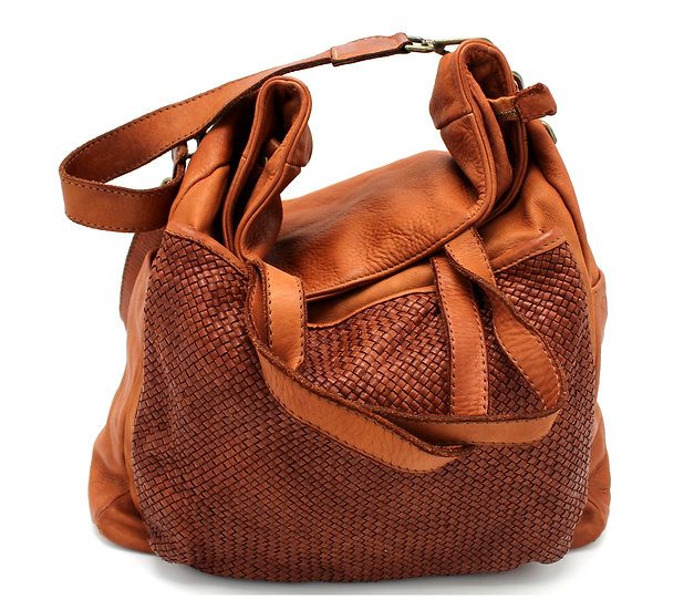 Leather Shoulder Bag in Soft Woven Leather Tuscany Amica