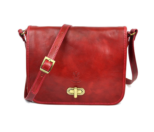 Genuine Leather bag long strap Red