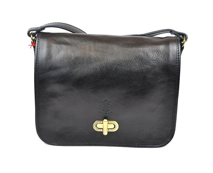 Genuine Leather bag long strap Black